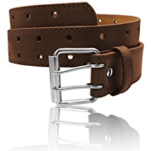 """Luna Sosano Men and Women's 1.5 Inches Wide Casual Leather Belt - Top Quality Leather (7 Colors / 10 Sizes - Up to 7XL / 68"""" Waist)"""