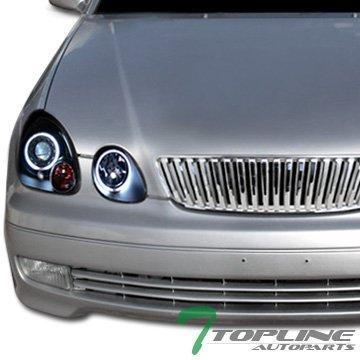 Topline Autopart Chrome Vertical Front Hood Bumper Grill Grille ABS For 98-05 Lexus GS300/GS400/GS430 (Lexus Chrome Grill)
