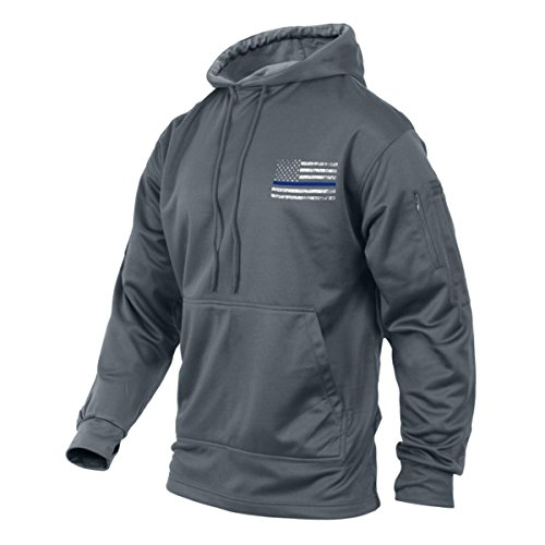 Price comparison product image Rothco Thin Blue Line Flag Concealed Carry Hoodie, Hooded Sweatshirt, Gray, L