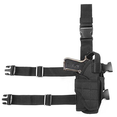 GES Tactical Adjustable Pistol Hand Gun Drop Leg Pouch Right Handed Leg Holster (Black) Right Hand Drop Leg