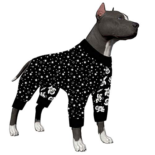 LovinPet Dog Clothes for Pitbull - Shirt Pajamas, Large Dogs, Slim fit, Lightweight Pullover Dog Pajamas, Full Coverage Dog Pajamas, Outer Space Astronaut Print (Sleeping Dogs Best Outfit)