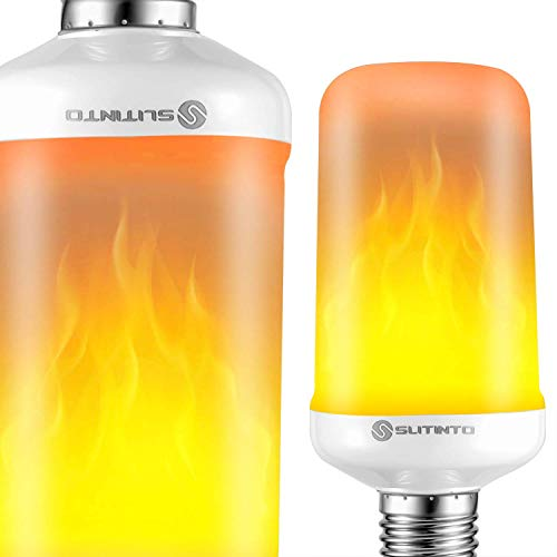 LED Flame Effect Light Bulbs, 7W E26 Flickering Fire Halloween Lights with Upside-down Effect, slitinto Simulated Decorative Lights Vintage Flaming Lamp for Christmas Decoration Home/Party/Bar(2 Pack)