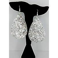 Silver Glitter Faux Leather Large Teardrop Dangle Earrings