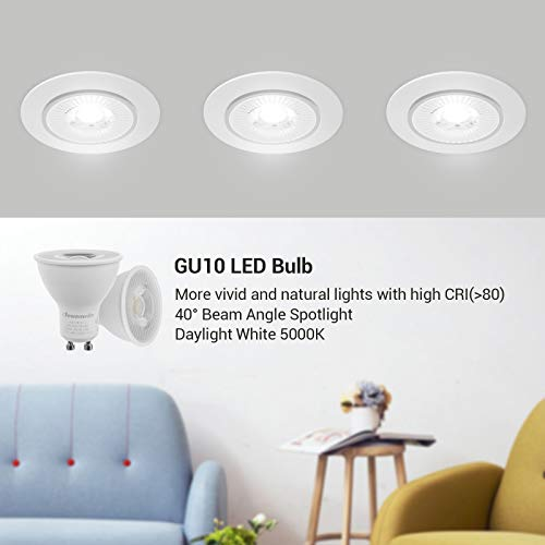 DEWENWILS 10-Pack GU10 LED Dimmable Bulb, 500LM, 5000K Daylight Track Lighting Bulb, 7W(50W Halogen Equivalent) LED Bulbs, UL Listed