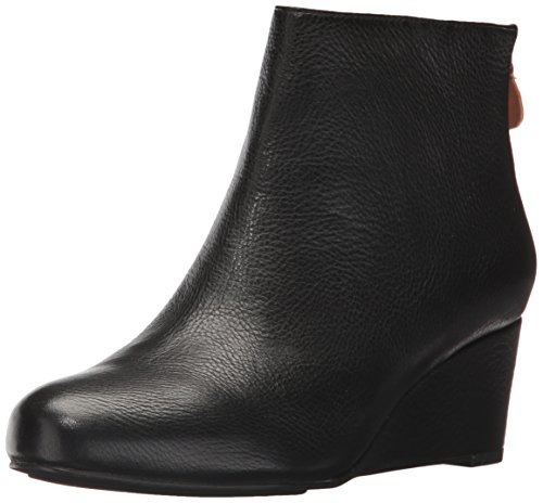 Gentle Souls Women's Vicki Low Wedge Leather Ankle Bootie Black g5Mo30gE