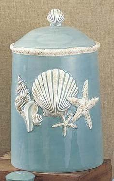 Amazon Com Seashell Shell Cookie Jar Kitchen Canister Beach New Dining