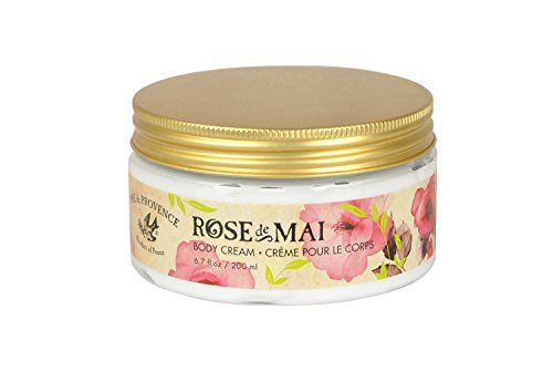 Pre de Provence Body Cream to Alleviate & Help Heal Parched Skin to Soothe and Hydrate with Shea Butter, Sesame Seed Oil, Vitamin E & Botanical Rose Blend Fragrance (6.79 fl oz) Mai Rose Body Cream