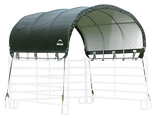 (ShelterLogic 51530 10' x 10' Powder Coated Green Corral Shelter Livestock Shade)