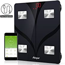 Aikoper Bluetooth Body Scale Composition Analyzer with Ios and Android App Smart Wireless Digital Bathroom, Weight, Black, Fat Water, Muscle Mass