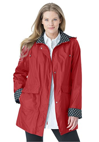 Women's Plus Size Raincoat In New Short Length With Fun Dot Trim Pepper Red,18
