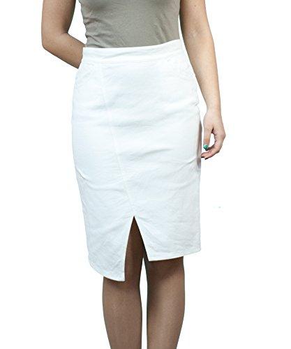 36 au Crayon Boutique Longueur 42 Denim EU Genou Fashion 40 Dcontracts 44 50 48 46 38 Jupe Blanc tHvwRt