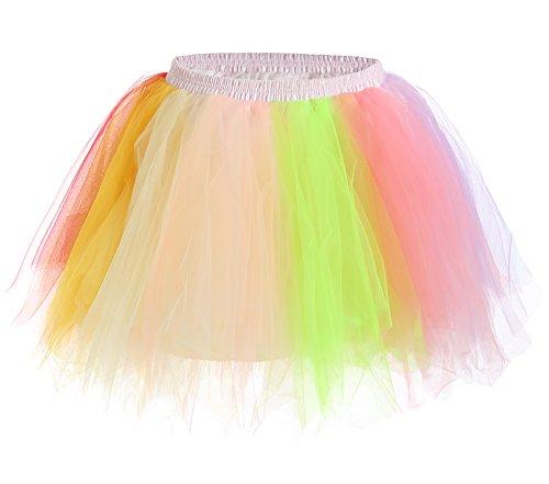 JustinCostume Women's 80's Skirt Neon Rainbow Tulle Petticoat, Rainbow A, XS/L (80s Fancy Dress Plus Size)