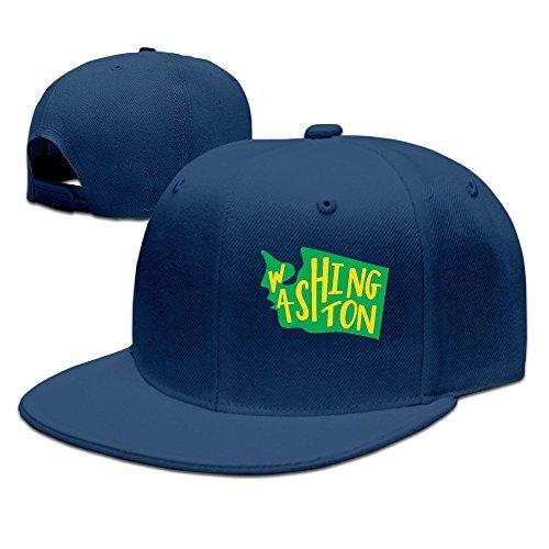 Washington State Outline Unisex Adjustable Flat Brim Baseball Cap Hip Hop Hat