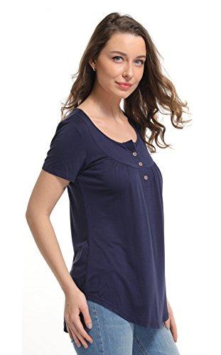 - Women's Short Sleeve Tops Super Soft Front Placket Slender Tee Shirt Summer Blouse Blue XS