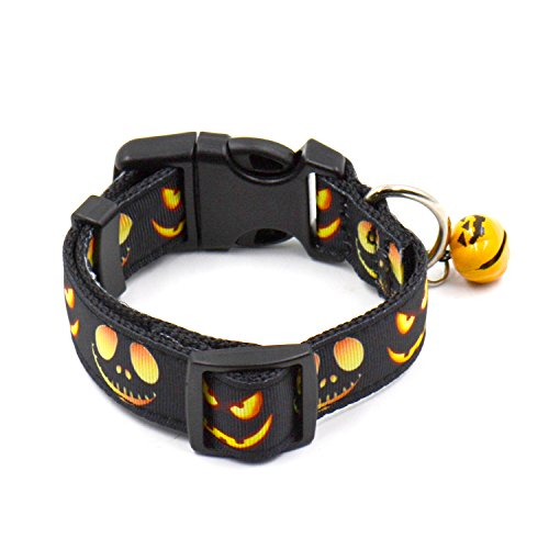 TenCloud Halloween Witches Ghosts Bats and Pumpkins Pattern Dog Collar with Funny Bell Adjustable Range 9.0