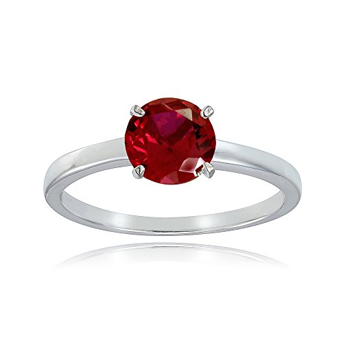 (Sterling Silver Created Ruby 8mm Round Solitaire Bridal Engagement Ring, Size)