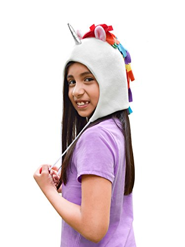 Unicorn Party Supplies Hat, Fleece with Rainbow Colored Mane, Silver Horn, Pink Ears by Unicraze