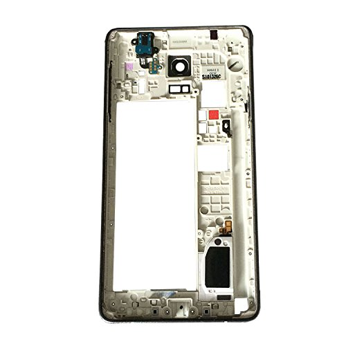 Rinbers New Back Housing Frame with Rear Camera Panel Cover with Audo Jack Flex and Camera Lens Preassembled for Samsung Galaxy Note 4 IV N910V Verizon Black - Short Antenna at the Bottom