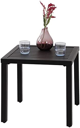 PHI VILLA Indoor Outdoor Small Metal Square Side/End Table