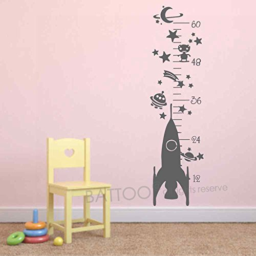(BATTOO Growth Chart Wall Decal Rocket Growth Chart Wall Sticker Space Ship Planets and Stars Kids Room Vinyl Wall Art Sticker(gray, 37