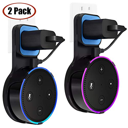 Generation Rubber - Outlet Dot Wall Mount Stand Holder for Smart Home Voice Assistants 2nd Generation TOOVREN Space-Saving Hanger Case for Smart Speakers - Short Charging Cable Included (2 Pack)