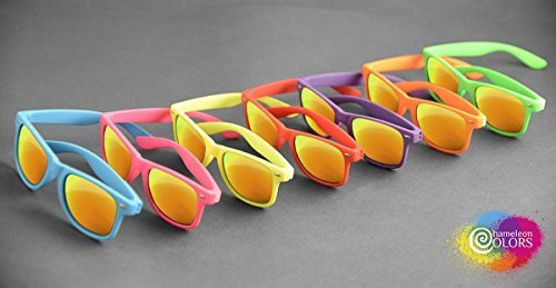7 Pack Brilliant Neon Sunglasses with UV Protection Chameleon Colors