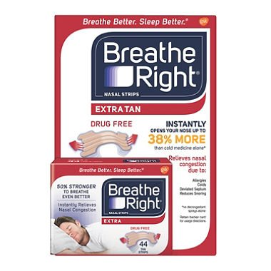 Breathe Right Extra Strength Nasal Strips, Tan (44 ct.) (pack of 6)
