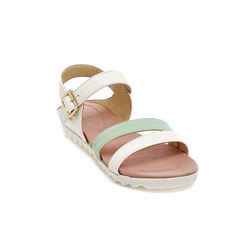 Amoonyfashion Kvinna Mjukt Material Öppen Tå Låga Klackar Spänne Diverse Färg Kilar-sandaler Grönt