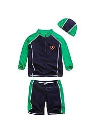 Child Boy Swimwear Diving Suit Long Sleeve Shirt Shorts Lovely Swimsuit