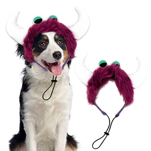 Mihachi Pet Halloween Headband Costume Monster Sharp Corner Big Eyes Holiday Wearable Accessory Purple for Medium and Large Dogs