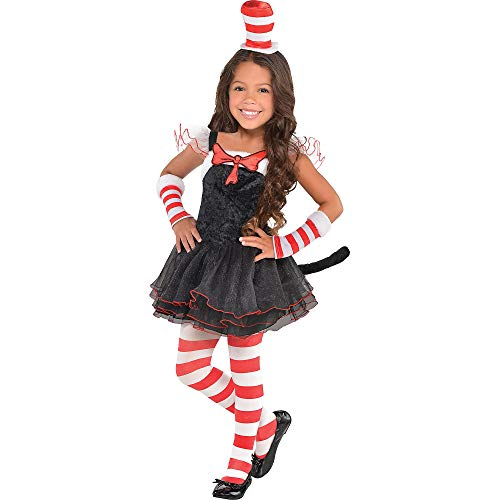 Costumes USA Dr. Seuss Cat in the Hat Tutu Halloween Costume for Toddler Girls, 3-4T, with Included Accessories -