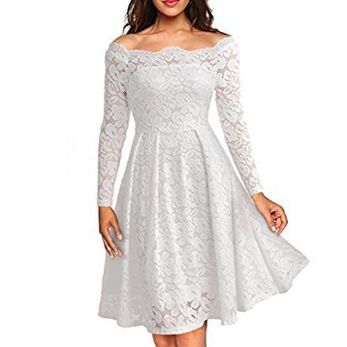 Evening Dress TOOPOOT Women's Elegant Floral Lace Long Sleeve Boat Neck Formal Swing Dress (10, white)