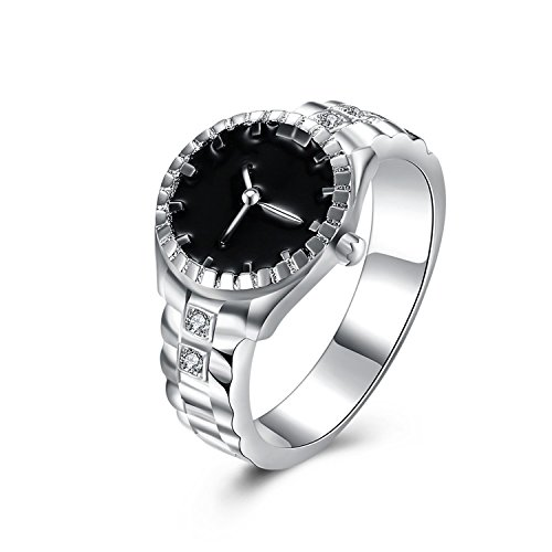 (Delatcha Silver Color Cubic Zirconia Watch Ring engagement Rings for girls)