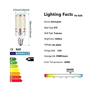 E12 LED Bulbs,12W LED Candelabra Light Bulbs, LED Chandelier Bulbs,60 Watt - 80 Watt Equivalent, 1000lm, Daylight White 6000K, Decorative Candle Base E12, Non-Dimmable LED Lamp,AC85-265V, Pack of 3