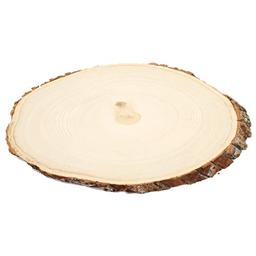 Koyal Wholesale Reversible Wood Slab Tree Slice with Bark Floral Centerpiece, 9 to (Floral Wood Candle Holder)