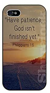 """iPhone 6 (4.7"""") Bible Verse - Hace patience, God isn't finished yet. Philippians 1:6 - black plastic case / Verses, Inspirational and Motivational"""