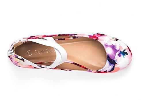 Droompaar Womens Sole_stretchy Mode Elastische Enkelbandjes Platte Schoenen Bloemen