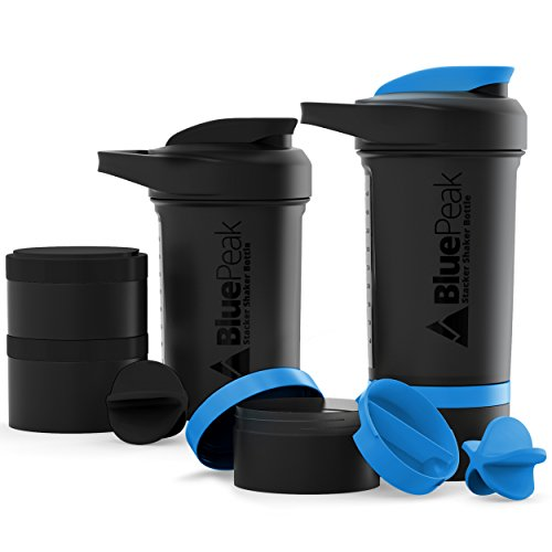 BluePeak Stacker Protein Shaker Bottle 22-Ounce, 2-Pack ProStak. Attachable Storage Containers (100 & 150cc) and Pill Tray Included. BPA Free (Black - Blue)