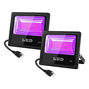 2 PCS 30W 395NM UV LED Black Light with US Plug, Ultra Violet LED Flood Light IP65-Waterproof for Blacklight Party…