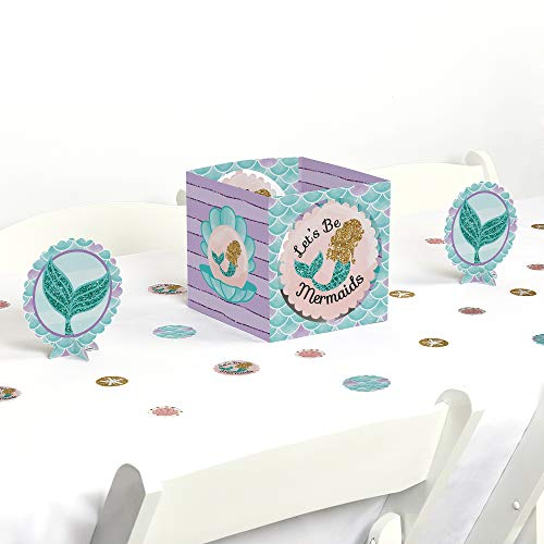 Big Dot of Happiness Lets Be Mermaids - Baby Shower or Birthday Party Centerpiece & Table Decoration Kit