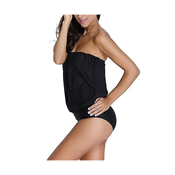 Hippolo costume da bagno da donna a pezzo unico senza spalline fasciante Black M 2 spesavip