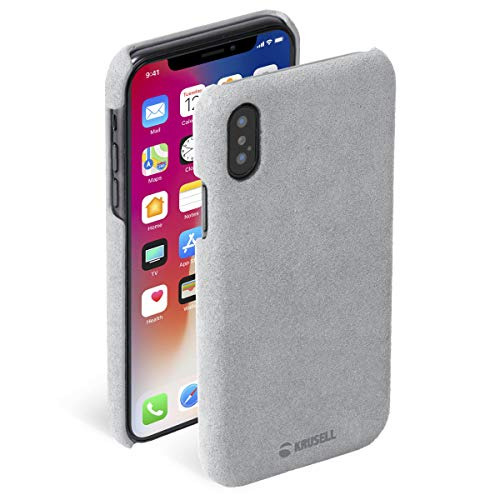 (Krusell Broby Case for Apple iPhone X/Xs - Premium Suede Case - Gray )