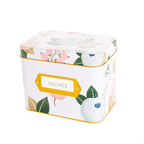 - Recipe Box With 24 Cards & 12 Dividers by Polite Society (White Tin)