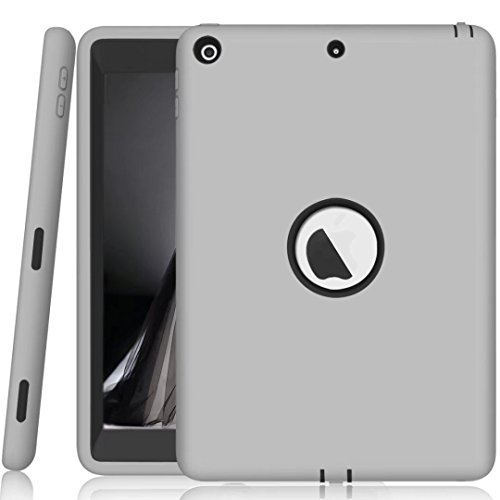 BAUBEY New iPad 9.7 2017 Case, Kid-Proof Kids Safe Slim Heavy Duty Shockproof Hybrid Hard PC Rubber Impact Defender Full Body Protective Case Cover for 5th Generation iPad 9.7