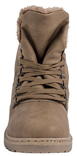 Elara Damen Biker Boots | Gemütliche Worker Stiefeletten | Warm Gefüttert Khaki Kanada