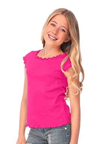 Kavio! Big Girls 7-16 Lettuce Edge Scoop Neck Cap Sleeve Top Hot Pink XL