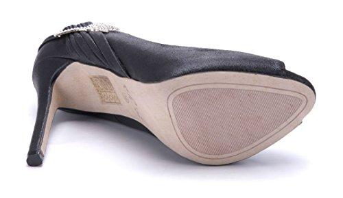 Schuhtempel24 Damen Schuhe Peeptoes Pumps Stiletto Ziersteine 12 cm High Heels Schwarz