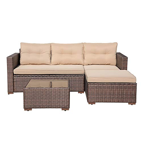 OC Orange-Casual Outdoor Patio Sectional Furniture, 4-Piece All-Weather Brown Wicker Sectional with Beige Seat Cushions & Glass Coffee Table   Patio, Backyard, Pool   Steel Frame