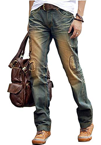 Newfacelook Designer Fashion Ripped Denim Blue Mens Jeans Trouser Pants Blue