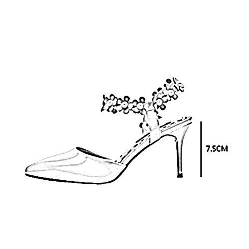 desnudo YXINY CN36 Desnudo Flores Color 7 Color Negro Negro Tacones Moda Tamaño De 5CM Zapatos de tacón UK4 Rojo Femenino EU36 Sandalias r8pr1RHq